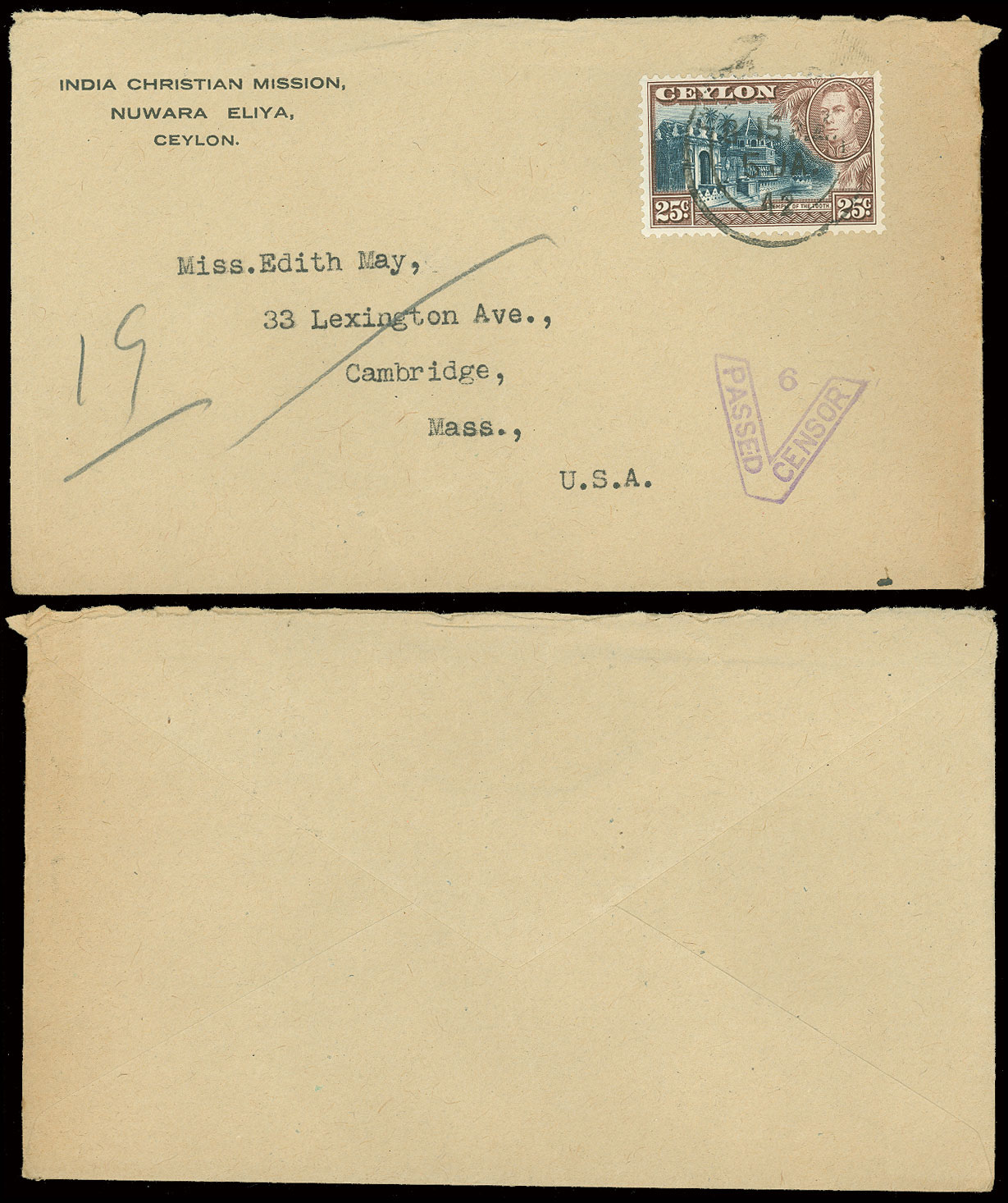 1942-43-WWII-INDIA-CDS-3-Covers-W-CENSOR-Tape-amp-Hand-Stamps-to-USA-Christian