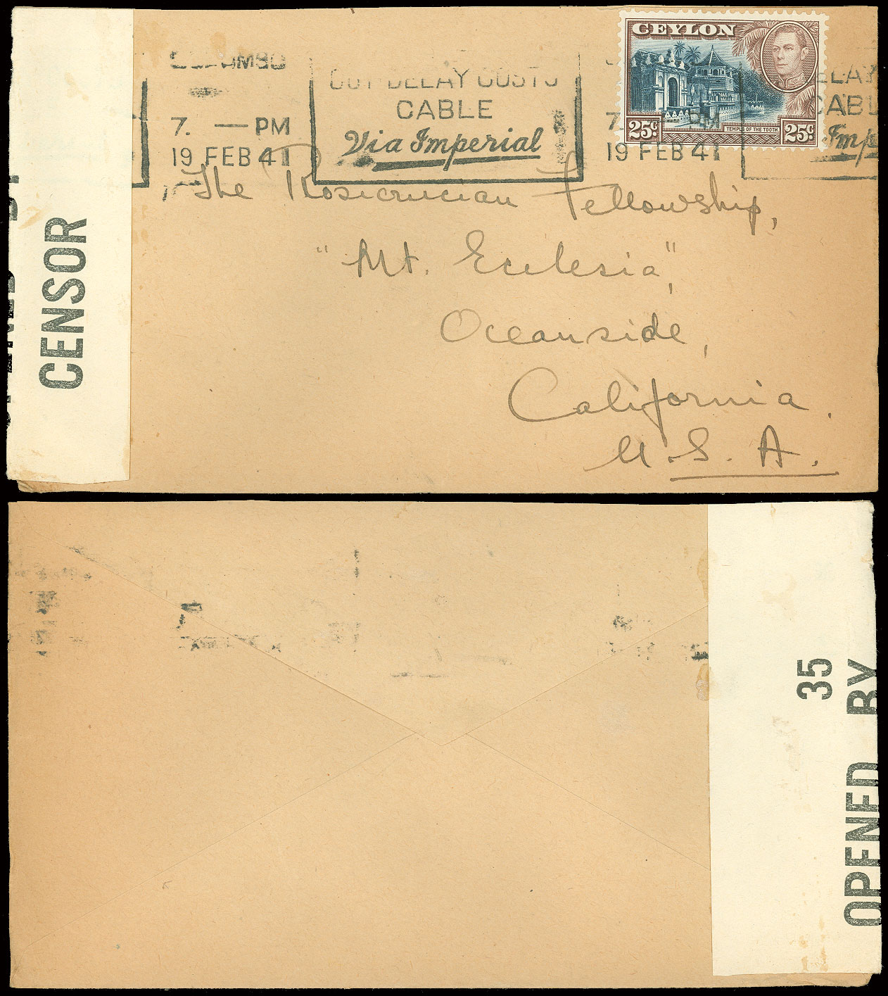1942-43-WWII-INDIA-CDS-3-Covers-W-CENSOR-Tape-amp-Hand-Stamps-to-USA-Christian thumbnail 2
