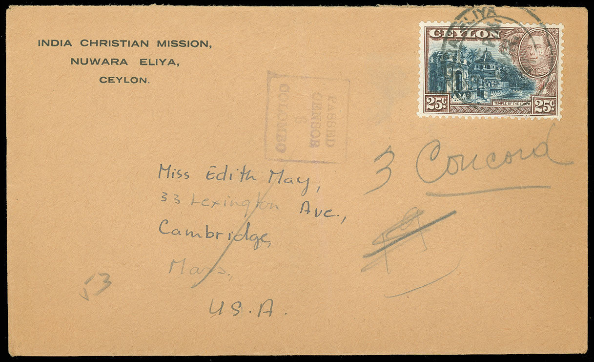 1942-43-WWII-INDIA-CDS-3-Covers-W-CENSOR-Tape-amp-Hand-Stamps-to-USA-Christian thumbnail 3