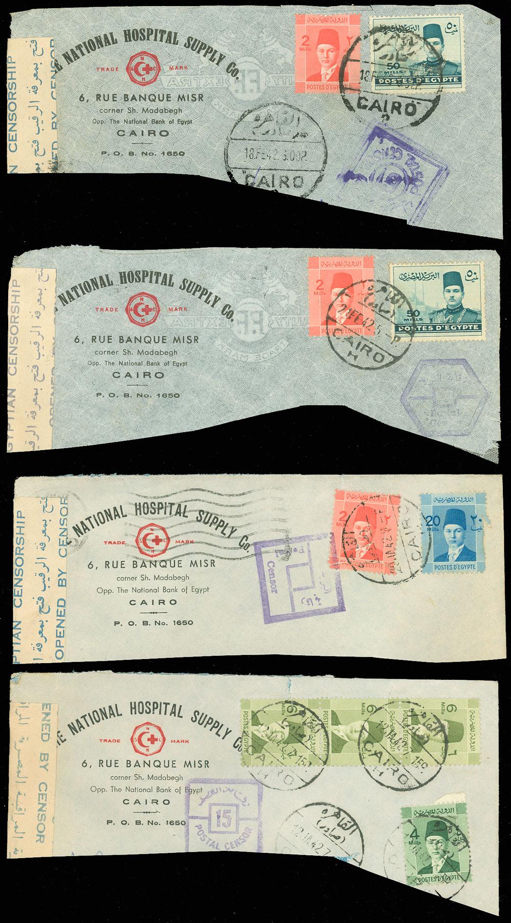 1942-WWII-EGYPT-4-Partial-Covers-CENSOR-TAPE-amp-HANDSTAMPS-Hospital-Supply-Co