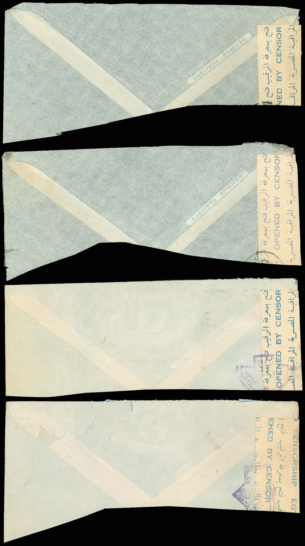 1942-WWII-EGYPT-4-Partial-Covers-CENSOR-TAPE-amp-HANDSTAMPS-Hospital-Supply-Co thumbnail 2